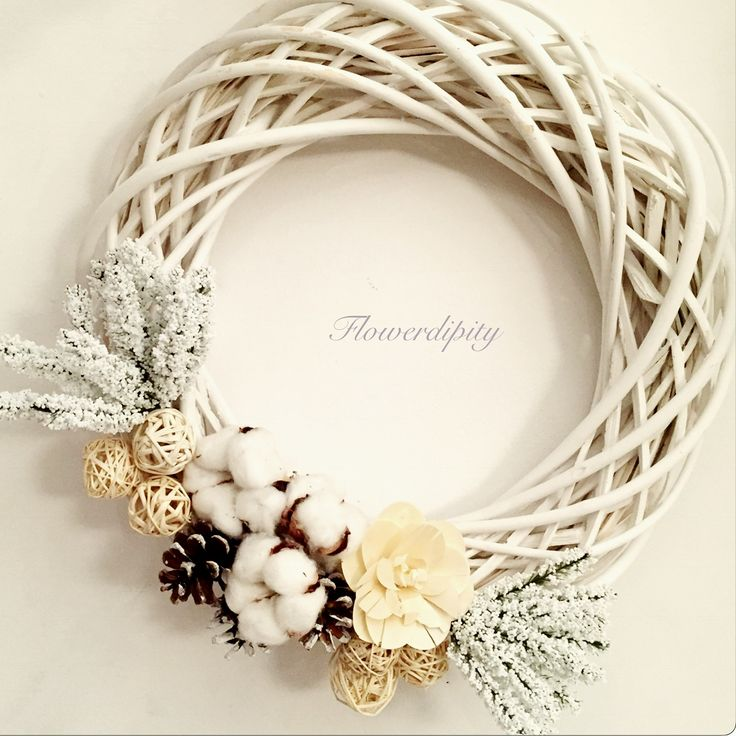 White door decoration #handmade #christmas #wooden #wreath #natural #decoration #elegant #door #special #gift #flowerdipity #corporate #delivery #winter #collection2016