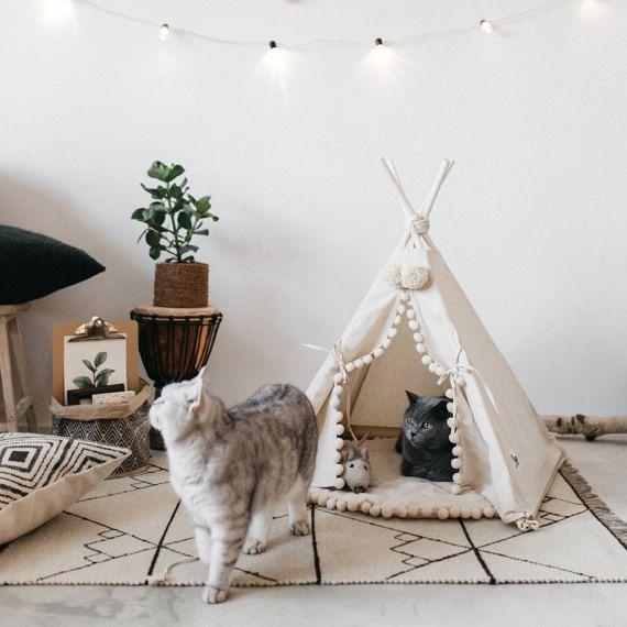 Kat bed met een bijpassende pompom pad bed van de door Minicamplt