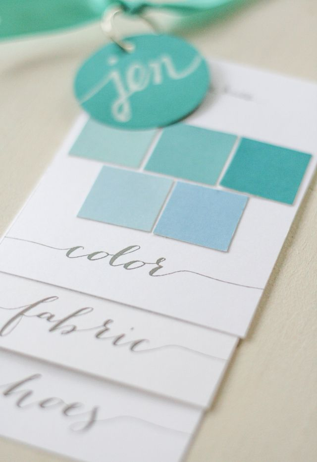 diy Bridesmaid Color Swatches | this is actually a great idea for home decor - paint swatches, fabric, carpet or hardwood colour, room measurements on cards to take shopping for accessories etc.