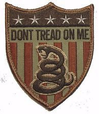 DON'T TREAD ON ME USA SNAKE SHIELD FLAG US XL DESERT BADGE VELCRO MORALE PATCH