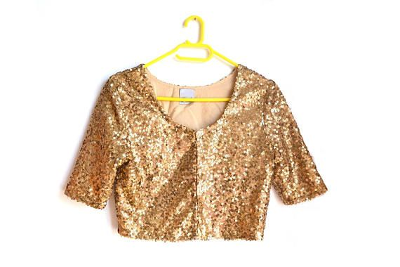 Gold Sequin Crop Top Extra Small XS Made in India