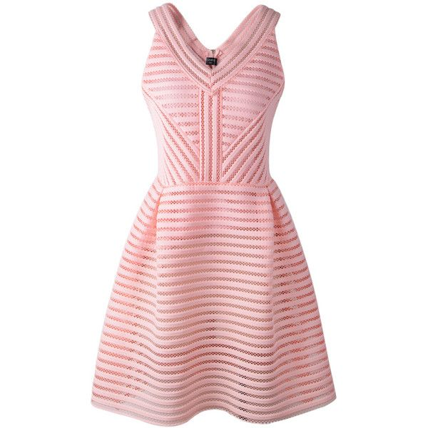 SheIn(sheinside) Pink Zippered V Neck Sleeveless Hollow Striped Dress ($20) ❤ liked on Polyvore featuring dresses, vestidos, pink, short dresses, day dresses, pink summer dresses, pink mini dress, striped dress, party dresses and pink skater dress