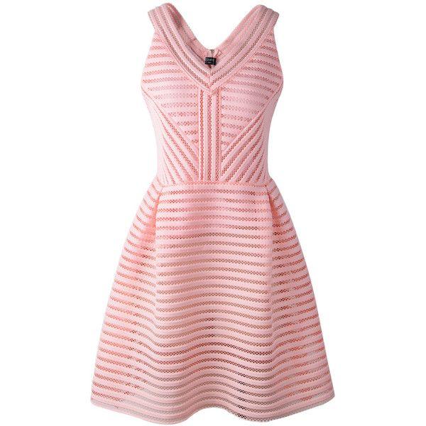 SheIn(sheinside) Pink V Neck Sleeveless Hollow Striped Dress (135 HRK) ❤ liked on Polyvore featuring dresses, vestidos, pink, short summer dresses, flare dress, summer dresses, short dresses and v neck dress