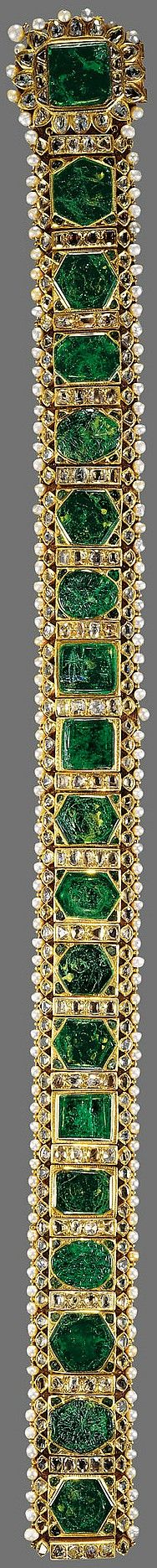 Emerald girdle of Maharajah Sher Singh, India, c. 1840, emeralds, diamonds, pearls, gold, fabric and silver-gilt thread, 6.9 x 83.5 cm, Made for Maharajah Sher Singh (the emeralds inherited from Ranjit Singh), c.1840; taken (as part of the Lahore Treasury) by the Directors of the East India Company, 1849; by whom given to Queen Victoria in 1851