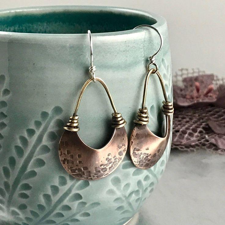 Mixed Metal Wire Wrapped Earrings Handmade Earring Artisan Jewelry Copper Earring Handmade Copper Jewelry Tribal Jewelry Earring Zen Jewelry by ArtNSoulJewels on Etsy