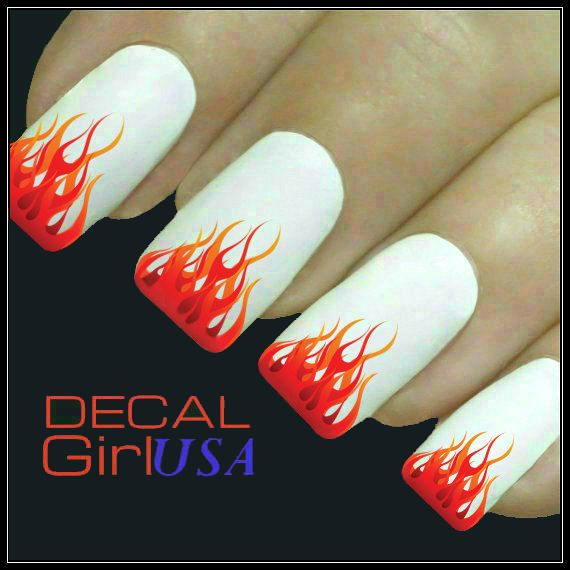 Flames Nail Art Decal 32 Water Slide Nail Decals by DecalGirlUSA, $3.85