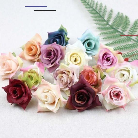 20//50pcs Artificial Silk Rose Flower Heads Fake Bouquet Wedding Party Decor