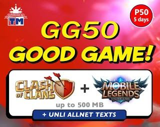 Here we go again ka-TM introducingTM GG50  5 Days Unli All Net Texts Mobile Legends  Clash of Clans.You only need to spend just only 50 pesos to enjoy online gaming on your mobile phone with Touch Mobile GG50 promo. This offer is applicable to both Android and iOS users with Mobile Legends and COC (Clash of Clans) installed on their phone. You can get 500MB data allowance that you can for up to 5 days that depends on what usage you consumed. Not just online gaming experience on the go  you…