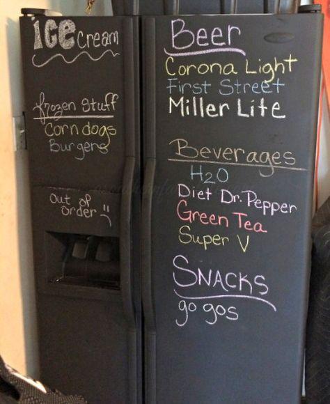 Easy DIY Chalkboard Paint Refrigerator Tutorial
