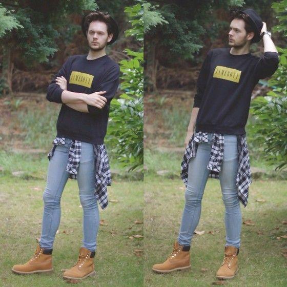 Debenhams Trilby, Streetshirts.Co.Uk Custom Sweatshirt, H&M Shirt, Topman Spray On Skinny Jeans, Schuh Timberland Boots