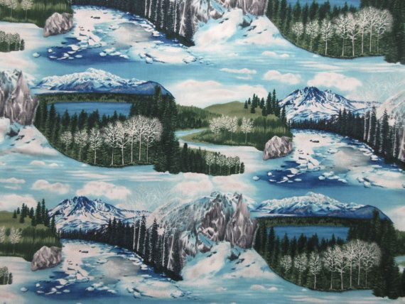 Mountain Landscape Fabric  The Last Frontier  by SewMeNowFabrics