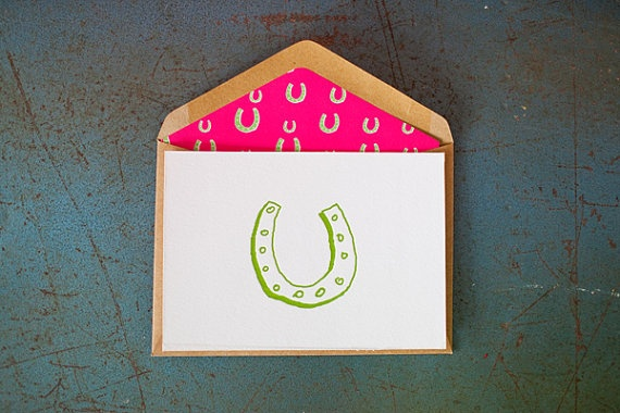 Good Luck  Horse Shoe {Letterpress Greeting Card} by LittlePeachCo, $5.00