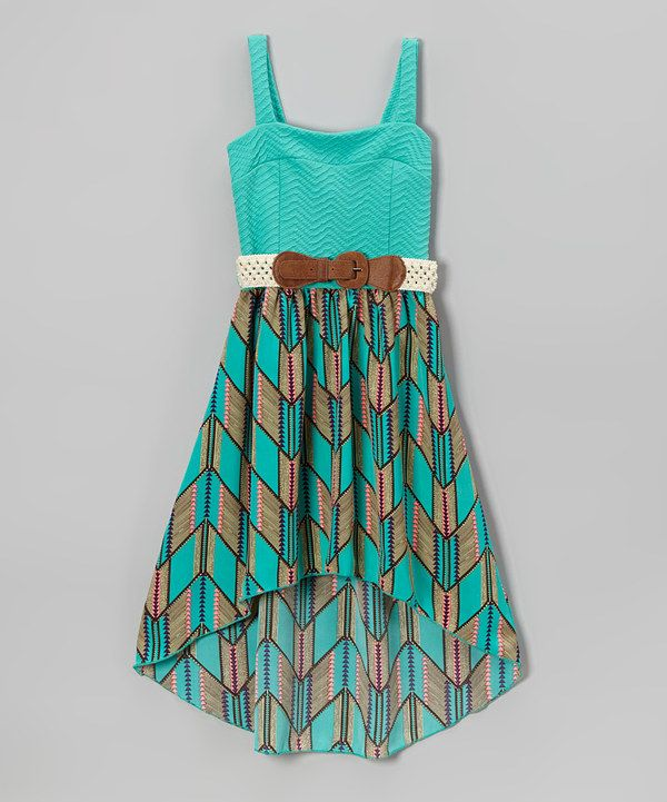 Love this Mint Chevron Belted Hi-Low Dress - Toddler & Girls by Just Kids on #zulily! #zulilyfinds