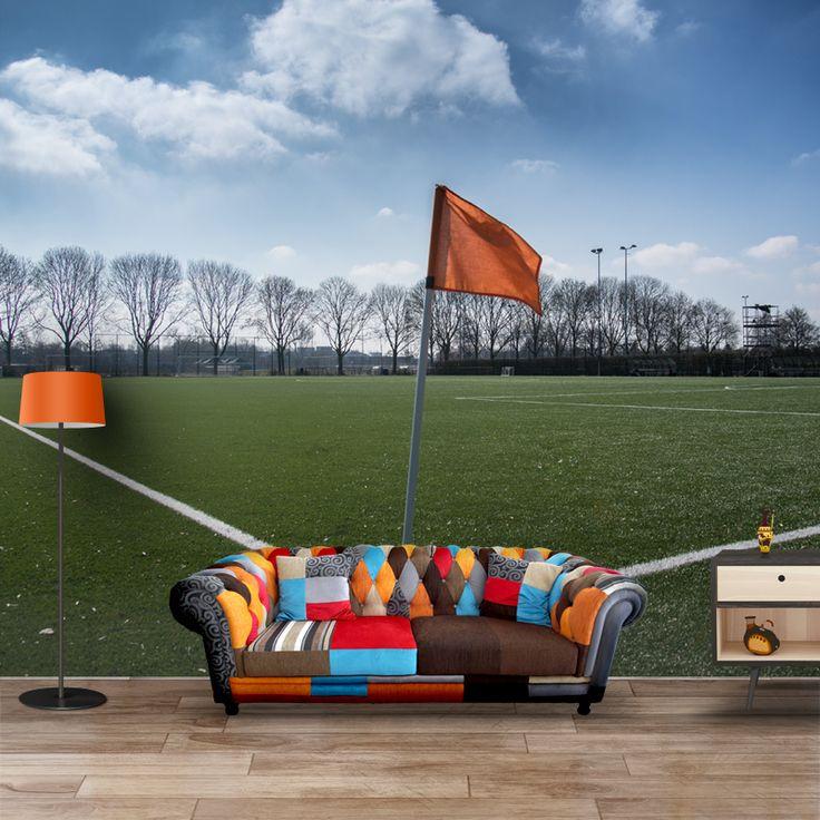 Fotobehang Veld vlag   Maak het jezelf eenvoudig en bestel fotobehang voorzien van een lijmlaag bij YouPri om zo gemakkelijk jouw woonruimte een nieuwe stijl te geven. Voor het behangen heb je alleen water nodig!   #behang #fotobehang #print #opdruk #afbeelding #diy #behangen #vlag #veld #voetbal #voetbalveld #sport #nederland