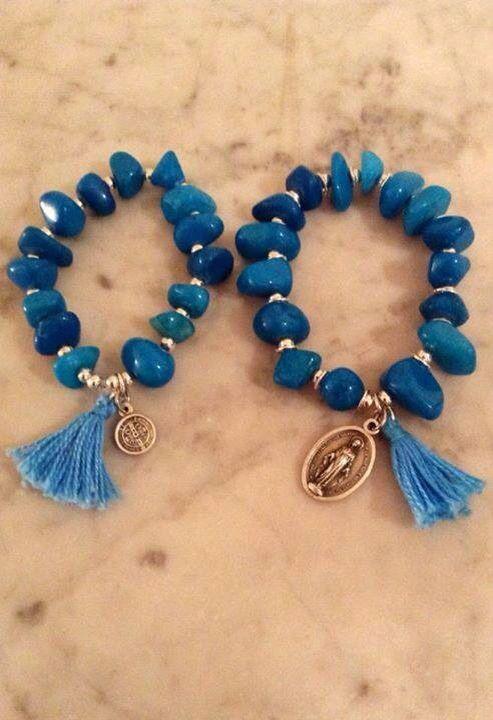 Pulsera piedra azul medalla