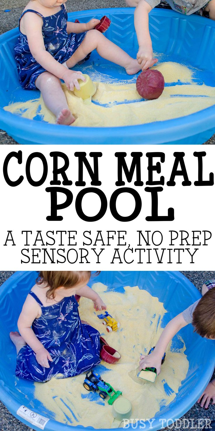 Corn Meal Sensory Pool: A perfect sand alternative; easy outdoor activity; sensory play for babies, toddlers, and preschoolers; quick and easy fun