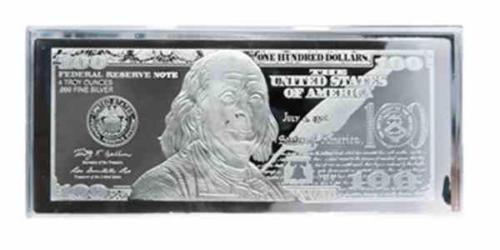 New-4oz-Silver-034-100-Dollar-Note-034-2013-Fine-Silver-999-Ingot-Bar