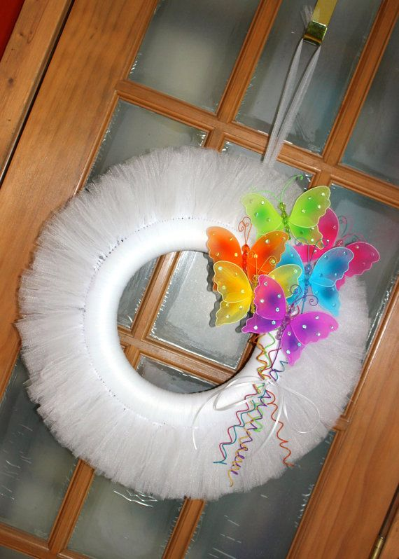 White Tulle Wreath with Bright and Colorful by DeckedOutDakota