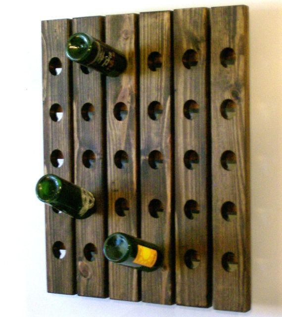 Riddling Rack Antique Style Wine Rack Walnut Finish by Wood 4 Decor on Etsy