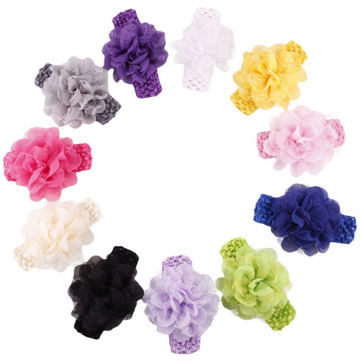 Hot Amazing Kids Gifts Chiffon Flower Headbands Baby Girls Hair Band Hair Accessories Headwear Photography Props