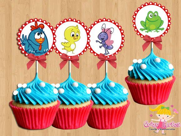 cupcake decor gallina pintadita