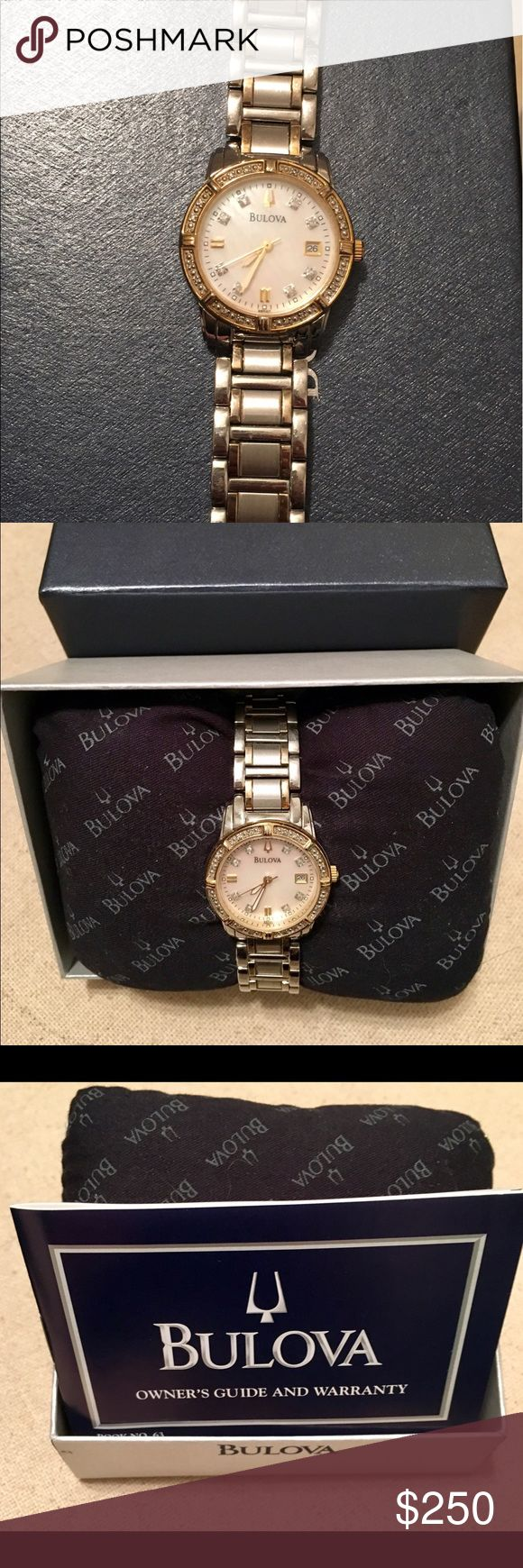Two-Tone Women's Bulova Watch Beautiful two-tone women's Bulova watch with an iridescent pearl face and delicate diamond details. Comes with original box, information packet, and additional links. Bulova Accessories Watches