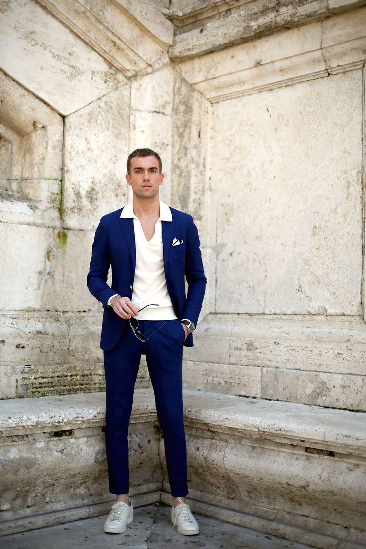 Royal blue suit casual