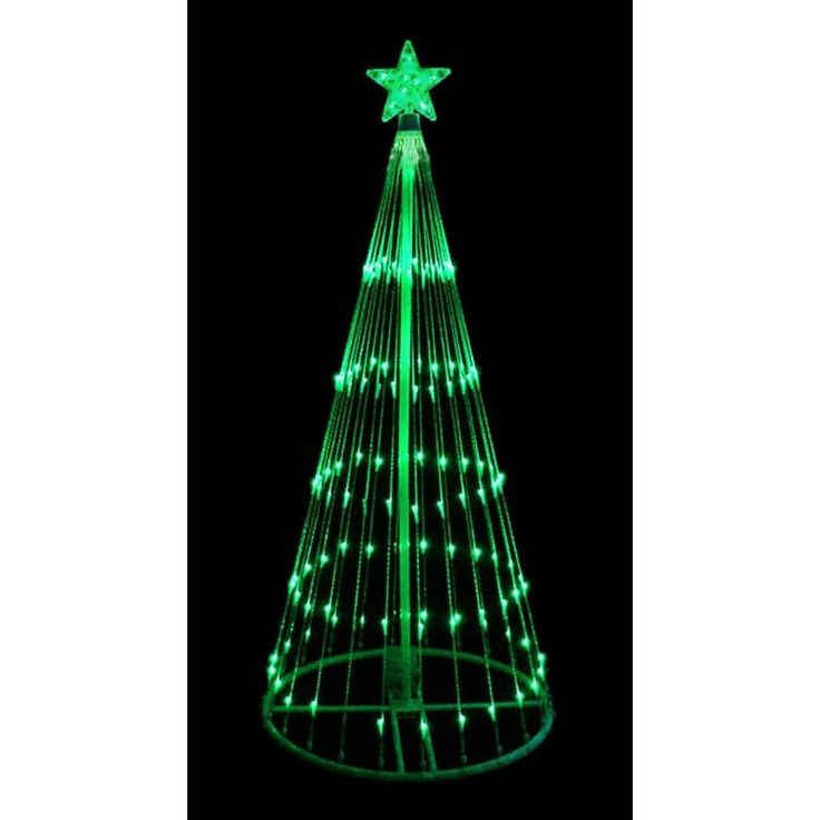 International 4' Green LED Light Show Cone Christmas Tree Lighted Yard Art Decoration