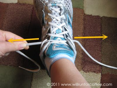 Runners toenail saving shoe tying tip. (Note to self: This is the same tie I use for my narrow heel slipping issue.)