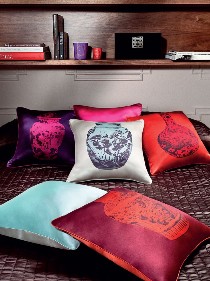 Shanghai Tang    'Ming' vase silk cushion cover  Xi'an candle  Double Happiness jewellery box in lacquer wood
