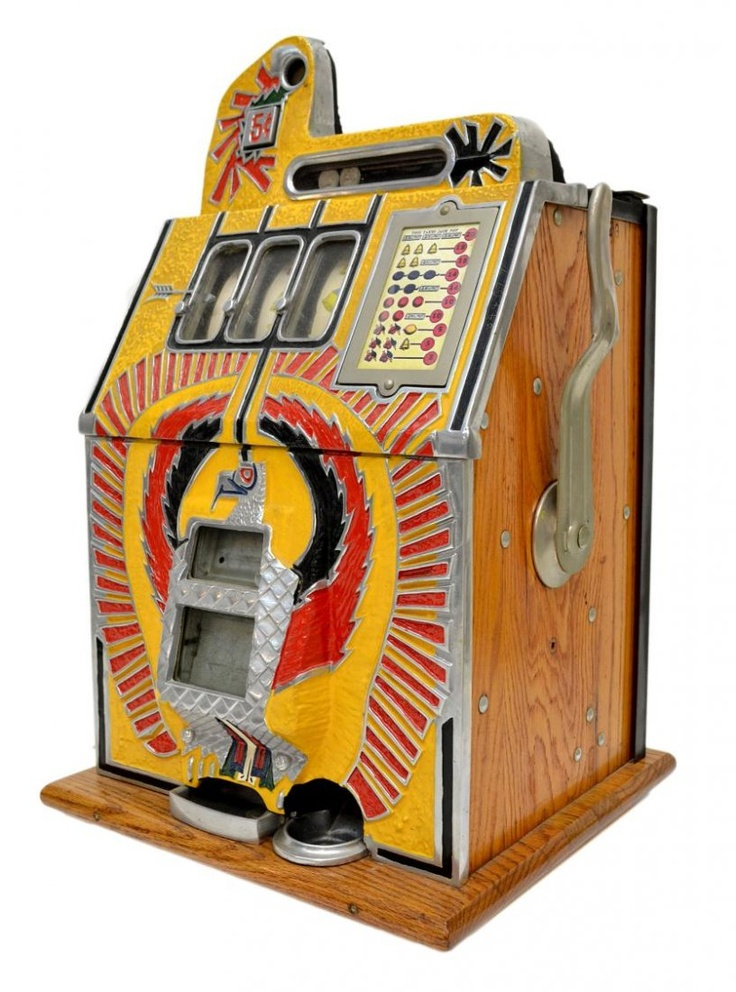 VINTAGE MILLS WAR EAGLE 5 CENT SLOT MACHINE. Ours was a 1934 mills,,,,25cent.