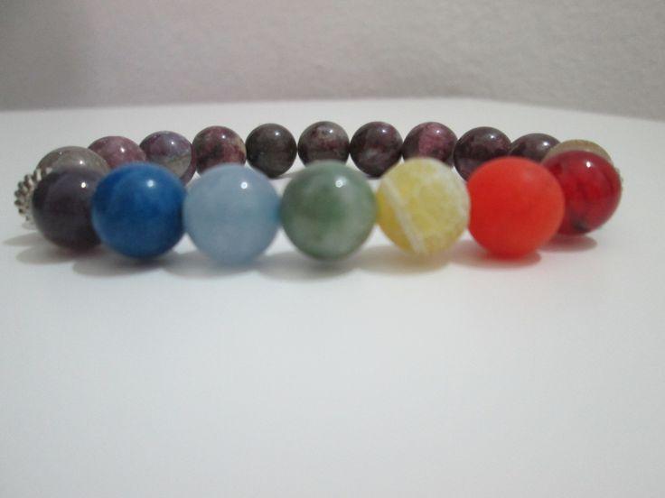 Pulsera Siete chakras,Pulsera piedras semipreciosas,Pulsera Turmalina…
