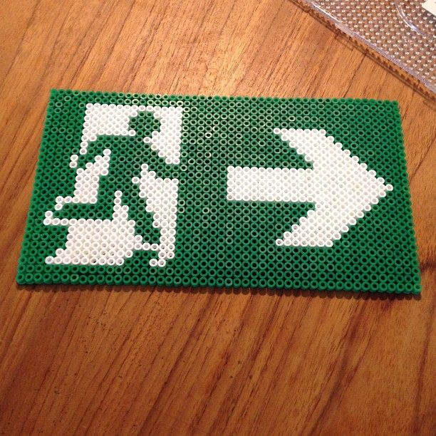 Emergency exit sign hama perler beads by gittegismo