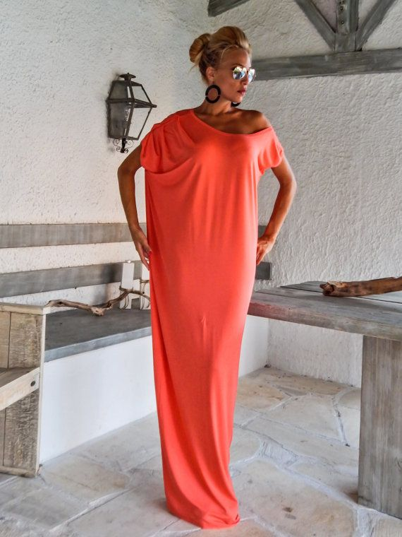 Coral Maxi Dress / Coral Kaftan / Asymmetric by SynthiaCouture