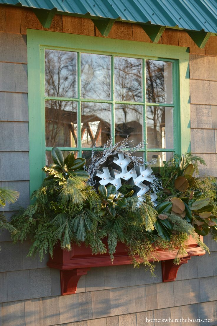 Hometalk diy christmas window decoration - Potting Shed Window Boxes Decorated For Winter Homeiswheretheboatis Net