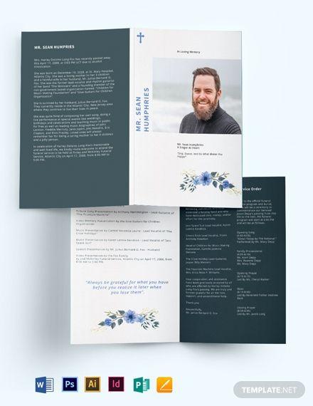 modern funeral program bi fold brochure funeral programs. Black Bedroom Furniture Sets. Home Design Ideas