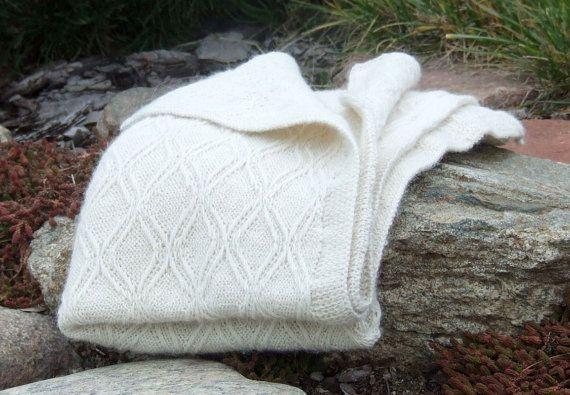 SALE 25% OFF Alpaca blanket baby white knit wrap ekuboo by ekuboo