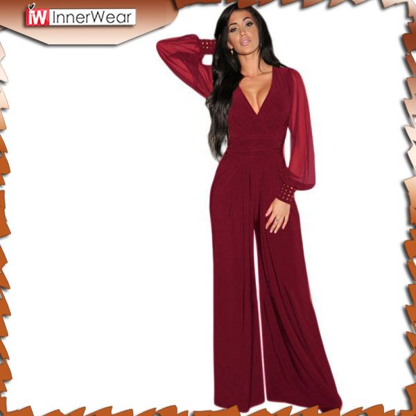 Wide Leg Elegant Jumpsuits Black V-Neck Embellish Cuffs Long Mesh Sleeves..............................................  Price : $31.36
