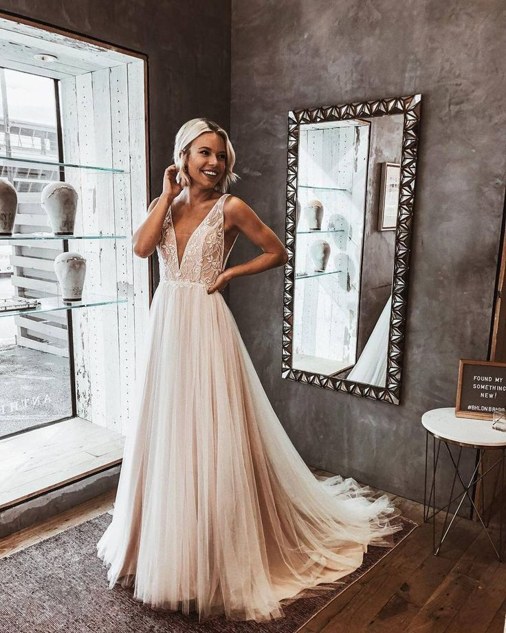 Light Champagne Lace and Tulle Boho Wedding Dress …