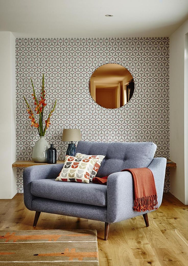 Round Copper Wall Mirror and Wallpaper Combination Modern Living Room. Mid  Century ...