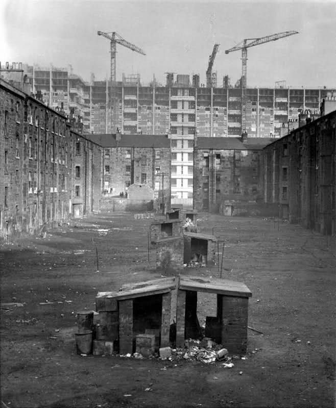 "The Gorbals, Glasgow - The old tenements come down and the high rises go up. Immediately after the second world war Glasgow was faced with a major housing crisis. In 1947 a delegation from Glasgow visited Marseilles to view the new ""tower blocks"" designed by French architect Le Corbusier, and a high rise policy was hastily introduced to Glasgow."