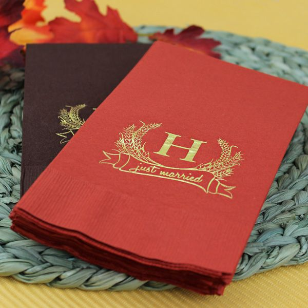 autumn wheat monogrammed disposable paper guest towels