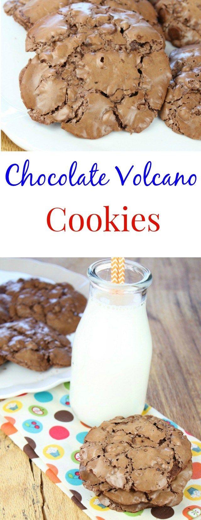 Chocolate Volcano Cookies ~ recipe found at missinthekitchen.com