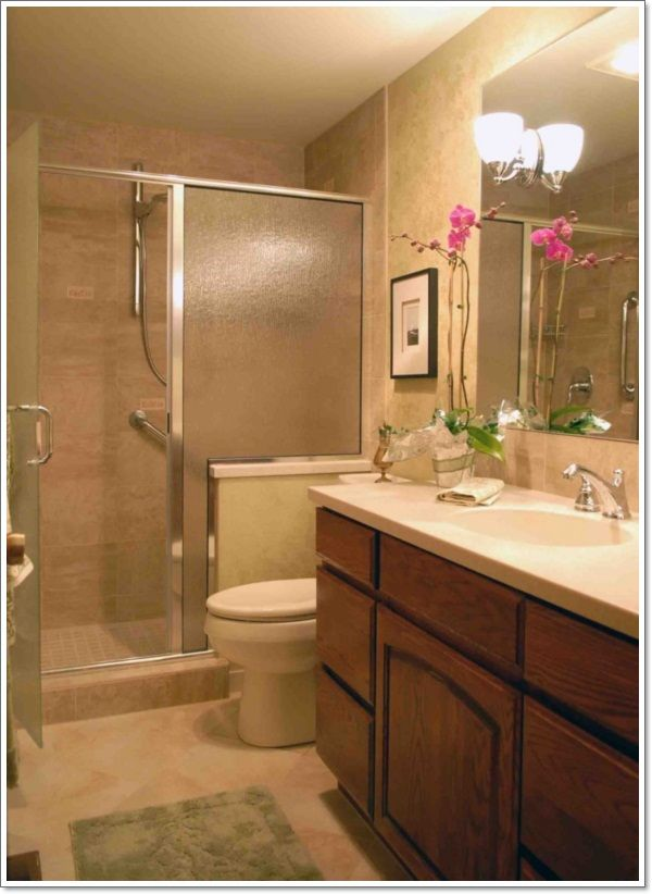 Photos Of Rustic Small Bathroom Showers Designs With Wooden Cabinet And Simple Toilet Also Big Mirror And Nice Desk Lamp For Bathroom Design Ideas B