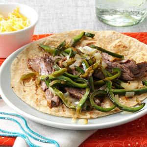 Marinated Steak & Pepper Fajitas Recipe  Taste of Home June/July 2013