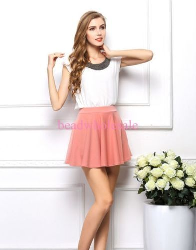 New-Fashion-Womens-Ladies-Chiffon-Short-Sleeve-T-Shirt-Casual-Tops-Beads-Blouse