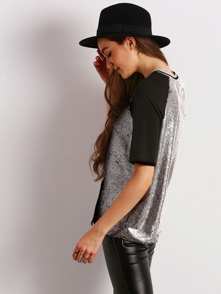 Crew Neck Contrast Raglan Sleeve Sequined T-Shirt | MakeMeChic.COM