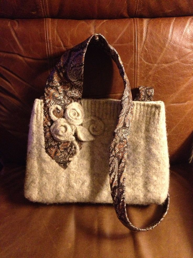 Purse made with upcycled wool sweater (felted) and men's necktie.