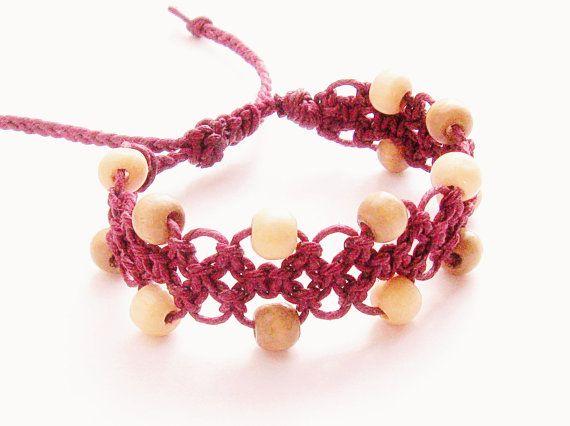 Hemp Cuff Bracelet - beaded macrame, burgundy red hemp and cream and brown wood beads - hippie bracelet, hemp bracelet, surfer bracelet