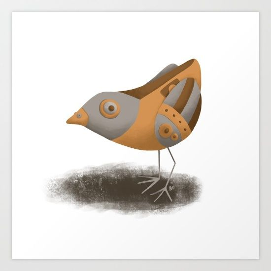Steampunk Sparrow Art Print by Alisha Ober  #steampunk #sparrow #metal #bronze #tin #silver #gold #illustration #childrensillustration #digitalart #procreate